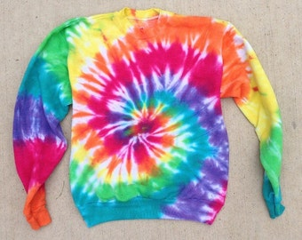 Tie Dye Crew Neck - Sweatshirt - Rainbow Tie Dye - Handmade - Michigan Made - Hippie 561bA2A