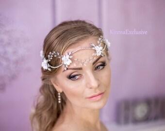 Floral bridal hair piece Bridal flower crown Bridal hair vine Wedding hair accessories Boho bridal headpiece Floral crystal headpiece bridal