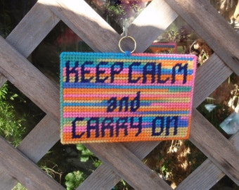 Keep Calm and Carry On - Inspirational Needlepoint Sign