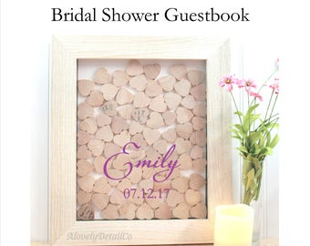 Bridal shower guestbook  heart drop box  Guestbook Wedding guest book drop hearts  Wedding guestbook , Rustic Wedding guest book