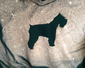 Women's V-Neck Schnauzer Bleach Art Shirt