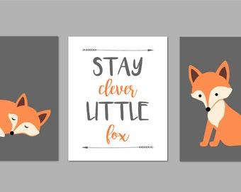 Stay Clever Little Fox, Tribal Nursery, Fox Nursery, Woodland Nursery Decor, Forest Nursery Art, Forest Nursery, Set of three 8x10s