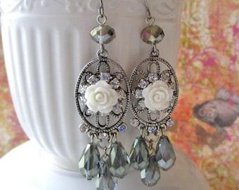 White Rose Earrings, Victorian Rhinestone Earrings, Shabby Chic Earrings, Crytal Teardrop Earrings, Romantic Earrings, Handmade Jewelry