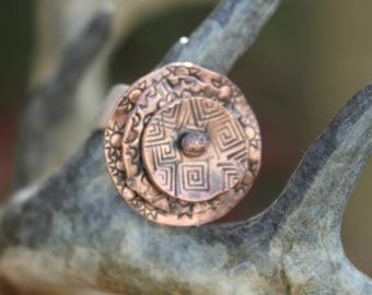 Handmade copper ring, copper, sterling silver band, rustic, organic