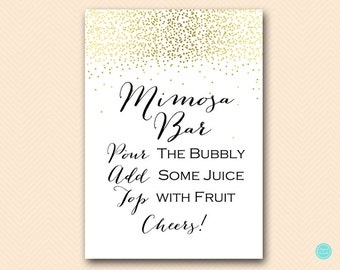 Gold Mimosa Bar Sign, Mimosa Bar Printable, Bubbly Bar Sign, Mimosa Sign, Mimosa Bar, Bridal Shower Decoration Signs BS472B ds