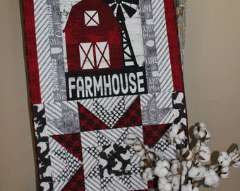 Farmhouse quilted wall hanging table runner