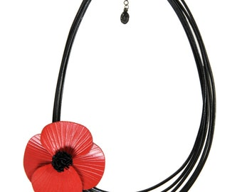 Full grain cowhide leather poppy offset 5 cords of black leather