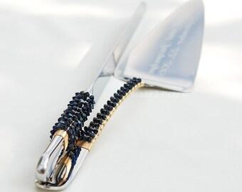 Swarovski crystal cake cutting set navy blue and gold beaded cake server and knife nautical wedding gift idea bridal shower something blue