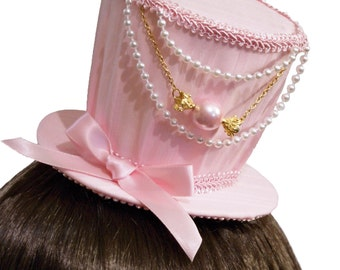Sweet Baby Pink and Gold Candy Mini Top Hat - Made to Order