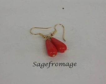 Red and gold pierced Earrings