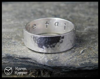 Secret message ring - I love you ring - Sterling silver rectangular ring, wedding band. Engagement ring, ring for men, thumb ring.