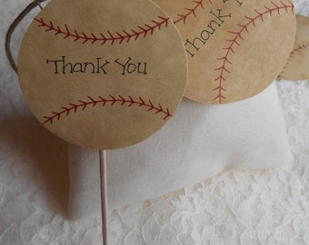 120 BASEBALL Cupcake Toppers Tattered Worn Vintage Appearance Rustic Wedding