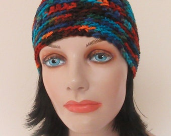 Beanie, Colorful Hat, Blue Crochet Beanie