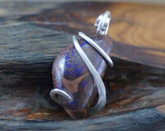 Australian Boulder Opal Freeform Cold Forged Sterling Silver Pendant