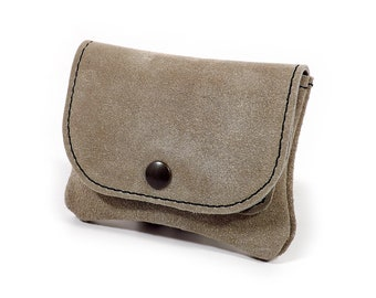 Beige leather wallet/card holder/pouch