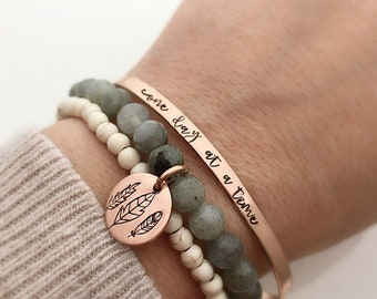 Encouragement Gift for her - Patience  Gift - Inspirational Bracelet - Labradorite Bracelet - Howlite - Gift for Women - One Day At A Time