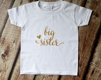 Big Sister Shirt, Big Sister Onesie, Sister Onesie, Sister Shirt, Baby Announcement, Baby Girl Shirt, Girls Glitter Shirt, Sibling