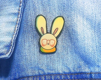 Geeky gift for her etsy hip rabbit pin white rabbit hipster fashion geeky pin rabbit accessory easter gift gifts for her galentine ready to ship negle Choice Image