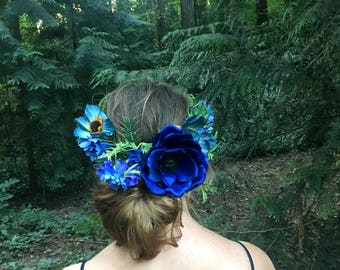 Wreath Style Blue Flower Crown / Fairy Crown / Headband / Rustic Wedding / Renaissance / Festival