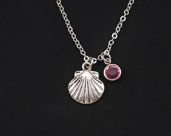 sea shell necklace, sterling silver filled, birthstone necklace, silver shell charm on silver chain, beach wedding, bridesmaid gift, for her