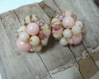 Candy Pink Beaded Clip On Earrings Mid Century