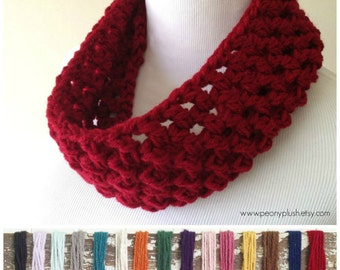 Red Knit Cowl - Red Crochet Cowl - Chunky Red Cowl - Cowl Scarf- Women's Cowls - Red Neckwarmer - Red Circle Scarf Christmas Gifts Under 30