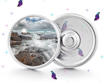 Ocean snap, Ocean waves, ocean coast, beach, snap button, snap button jewelry, interchangeable snap, glass snap 18mm snap, beach jewelry