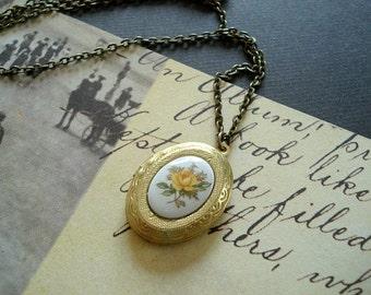 Yellow Flower Cameo Locket Necklace Brass Locket Gold Brass Locket Yellow Rose Necklace Jewelry