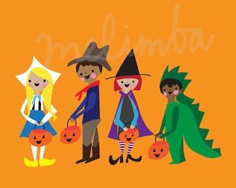 Costume Parade DIGITAL INSTANT DOWNLOAD illustration art print, trick or treaters, halloween art print