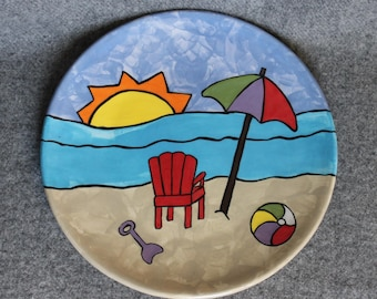 Day at the beach plate, Hand painted, hostess gift, dinner plate, shower gift, summer tableware, red Adirondack chair, life is a beach, lake