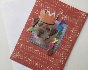 Happy Birthday | For You handmade card | Dog with a party hat