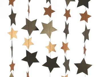 Metallic Bronze and Copper Star Garland - Handmade Garland, Bronze Garland, Wedding Garland, Birthday Garland - GS003BzCp