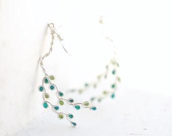 Ready to Ship, Teal Green Earrings, Willow Branch Jewelry, Birch Tree, Handmade Jewelry