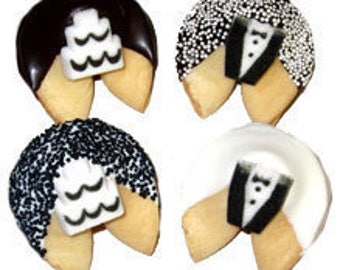12 BLACK & WHITE WEDDING Tux and Cake Fortune Cookies, Bridal Shower Favors, Wedding Party Favors, Wedding Gift, Bridal Gift