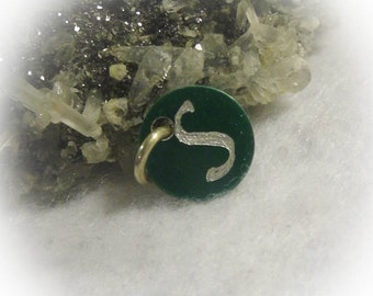 Letter S Hand Engraved Green Personalized Small  Charm 1/2 inch