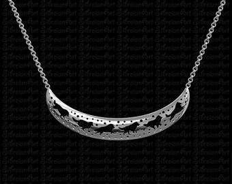3D Rough Collie crescent necklace - sterling silver