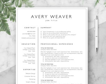 Professional Resume Template, CV, Curriculum Vitae Template Design, Instant Download For Word, Two-Page Resume, Avery