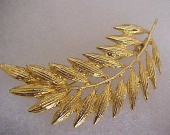 AAI Brooch Gold Tone Metal Leaf Design