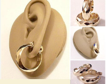 Monet Diamond Hoops Clip On Earrings Gold Tone Vintage Large Round Wide Faceted Domed Bands Comfort Paddles Open Round Rings