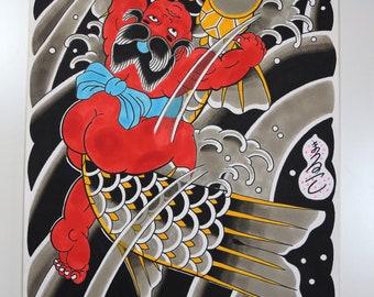 Kintaro, Fine art, Irezumi art, Horimono art, tattoo art, Japanese illustration, Japanese tattoo art