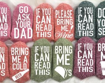 Mother's Day Funny Socks If You Can Read This Socks Wine Socks Beer Socks Mom Socks Gag Gift Gifts for Her Gifts for Mom Funny Gifts