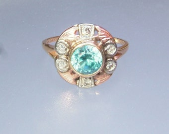 Antique Blue Zircon Diamond Bezel Tri Gold Ring White Yellow Rose Gold 14kt