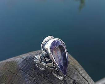 Clear Amethyst Ring Handmade & Silver