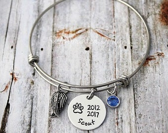 Personalized Dog Memorial Bracelet - Pet Sympathy Gift - Loss of a Dog - Dog Name Jewelry - Pet Loss - Dog Loss - Memorial Gift