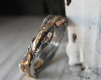 Rustic Mens Wedding Band Sterling Silver Gold Ring 6mm Width Distressed Wedding Band Unique Wedding Band Mens Wedding Ring Artisan Ring