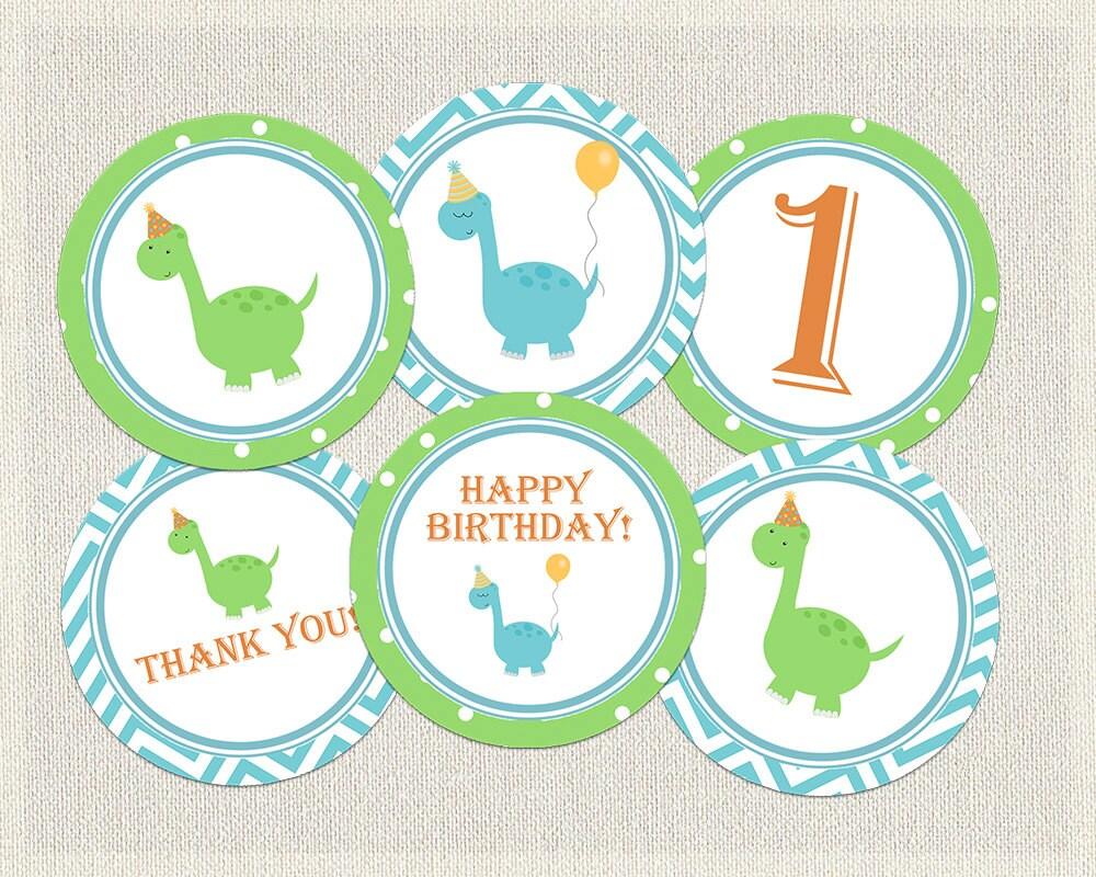Dinosaur Cupcake Toppers Birthday Orange Green Blue 1st 2nd 3rd ...