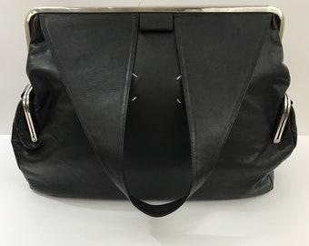 Maison Martin Margiela Black Leather Bag/Large Leather Tote Bag/Black Leather Travel Bag/Margiela Leather Handbag No 11