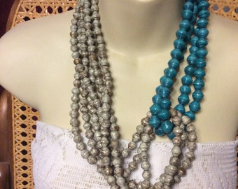 Vintage wrapped rolled paper beads multi strand necklace.