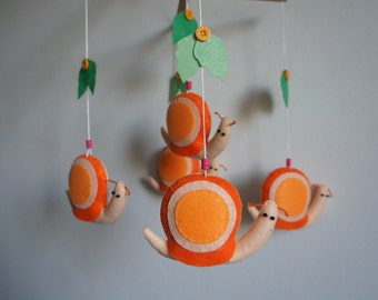 Mobile 5 orange and beige felt snail