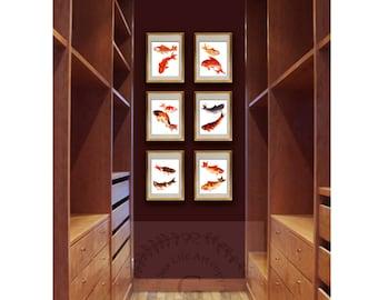 Zen Wall Art, Asian Wall Art, Fish Art Print Set Of 6, Koi